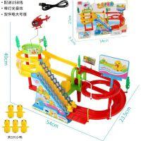 小黄鸭小猪轨道车玩具佩琪爬楼梯佩奇上楼梯男女孩儿童电动滑滑梯 超大多层双轨道5个小鸭 送USB线