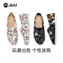 jm快乐玛丽布鞋夏季新款潮设计师涂鸦平底个性潮鞋帆布鞋女鞋