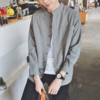 春季新款男士修身个性小清新长袖衬衫外套韩版潮流学生帅气打底;