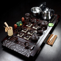 茶具套装家用简约功夫陶瓷冰裂全自动茶台茶海茶托一体式实木茶盘