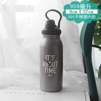 家居韩版大容量保温壶男1000ml创意潮流便携水杯女不锈钢个性运动水