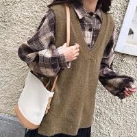 格子衬衫+马甲女学生韩版宽松慵懒风针织毛衣背心秋冬季两件套装
