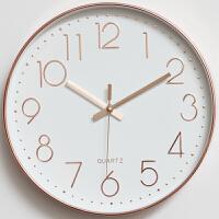椭圆形挂钟 钟表挂钟客厅电子时钟现代简约静音无声个性创意家用办公卧室墙钟 12英寸
