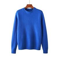 秋冬季圆领加厚针织男士毛衣时尚潮流纯色男外套 蓝色