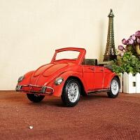 道具之家铁皮车模型 甲壳虫模型汽车模型搁板摆 铁艺车模 二色A 29*12*12厘米