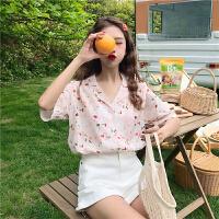 洛丽塔Lolita韩版chic小众设计感西装领碎花短袖衬衣夏季新款小清新衬衫上衣女 均码