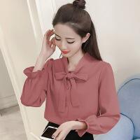 系带长袖春装新款韩版喇叭袖雪纺衬衫女薄款蝴蝶结很仙的上衣