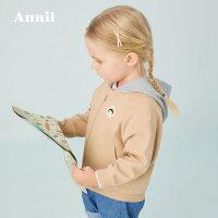 【活动价:169.5】安奈儿女小童长袖连帽针织外套春秋季2020新品宝宝洋气外套蝙蝠袖