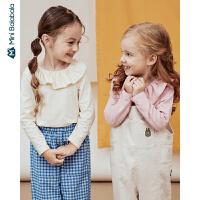【2件4折】迷你巴拉巴拉女童打底衫2020春装新款宝宝翻领高弹针织衫洋气童装