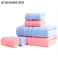 【 限时1件3折】金号纯棉1浴巾+2毛巾三件套装素色加厚大家用成人柔软吸水女全棉