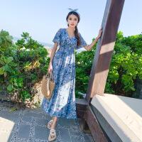 欧美女装潮牌沙滩情侣装夏2019新款中长款仙气质连衣裙海边度假蜜月旅拍套装