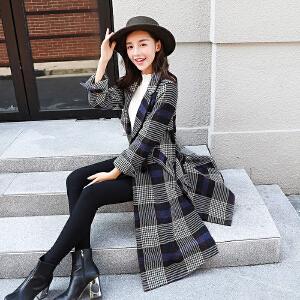 RANJU然聚2018秋冬季女装新品新款格子风衣女中长款韩版大码女装呢子大衣外套