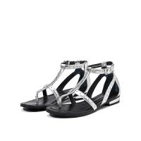 【限时3折】D:Fuse/迪芙斯新款商场同款牛皮夹趾铆钉女凉鞋DF72115113