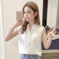 衬衫女夏季2018新款韩版学生甜美小清新宽松V领无袖雪纺衬衣上衣