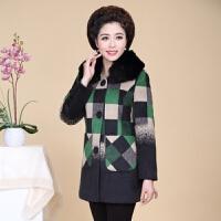 【带毛领】妈妈装毛呢秋冬季外套中长款外套中年女衣 绿色 XL(建议90-110斤)