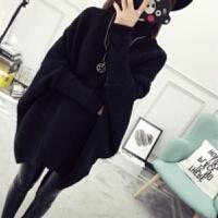 秋冬中长款毛衣套头女韩版宽松蝙蝠衫针织衫加厚外套高领冬季女装 均码