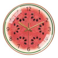 家用可爱西瓜橙猕猴桃挂钟客厅个性创意钟表