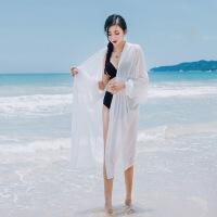 防晒衣中长款女夏2019新款时尚宽松外搭防�鸱�开衫超薄款披肩外套 白色 均码