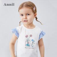 安奈儿童装女童T恤2020夏季新款小飞袖撞色大方宝宝圆领短袖上衣2