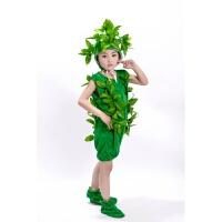 新款大树表演服儿童小树演出服松树柏树圣诞树舞蹈服男女大树服装 绿色短款 小树