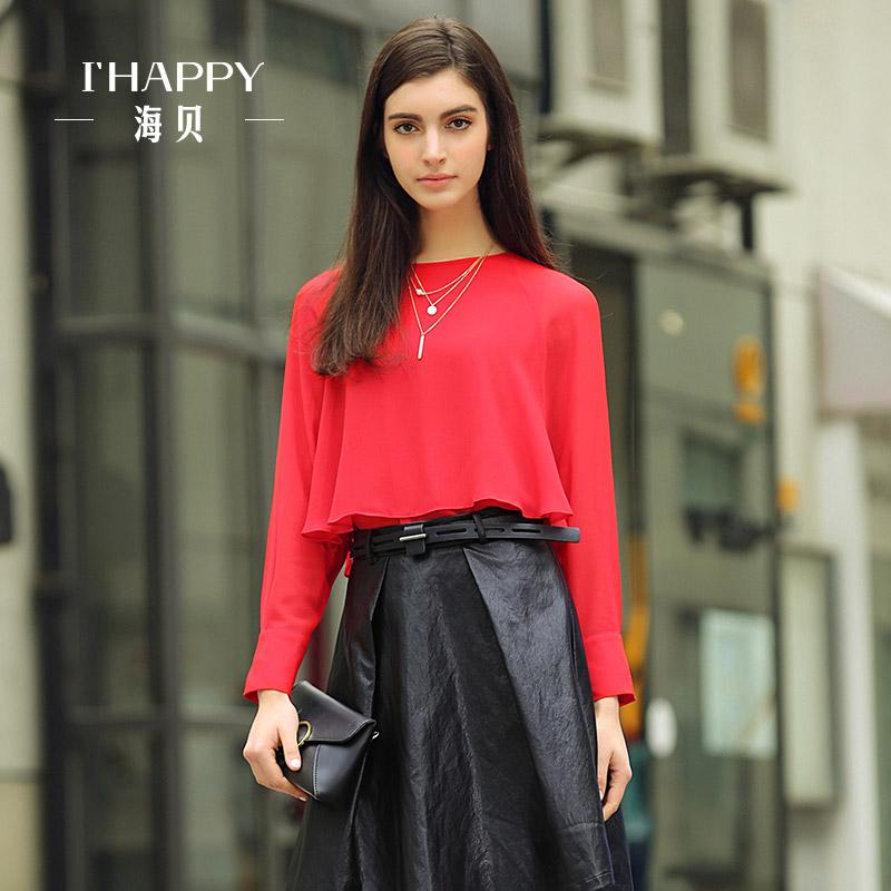 海贝新款长袖上衣女 韩版纯色波浪下摆圆领秋季长袖小衫