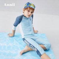 安奈儿童装男童中袖连体泳衣套装2020夏新款帅气儿童温泉泳衣