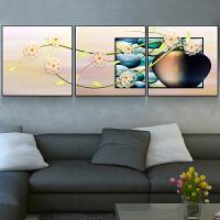烤瓷浮雕画装饰画立体挂画客厅卧室三幅有框画沙发背景墙壁画 FD308晶莹 60*60 12mm薄板 拼套