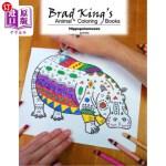【中商海外直订】Brad King's Animal Coloring Book: Hippopotamuses
