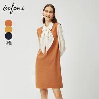 伊芙丽2020新款春装衣服女装针织雪纺拼接假两件连衣裙