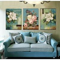 数字油画 油彩画 三联三拼画手绘填色客厅人物风景花卉装饰画 乳白色 出水芙蓉