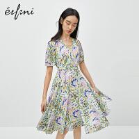 伊芙丽连衣裙2020年新款夏季气质碎花日系古着可甜可盐v领裙子女