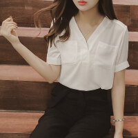 白色衬衫女2018新款夏季漏锁骨v领上衣短袖工作服职业装雪纺衬衣