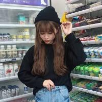 半高领毛衣女秋冬季韩版宽松百搭纯色上衣学生套头短款打底针织衫 S