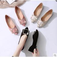 网红同款潮鞋单鞋女平底软底金属方扣舒适工作鞋上班单鞋女鞋子