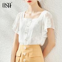 【超品叠券预估价:114】OSA白色方领雪纺法式衬衫女夏季2020年新款薄款碎花衬衣短袖上衣