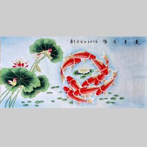 中美协会员,中国工笔画艺术研究会会员陈景芝(连年有余)1