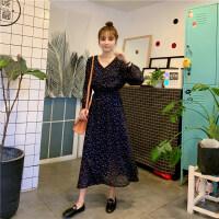 夏天裙子仙女超仙森系很仙的法国小众桔梗连衣裙学生法式复古过膝 均码