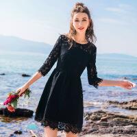 蕾丝连衣裙2019年早春新款女装小个子春装黑色气质春秋流行裙子夏