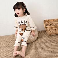 儿童纯棉布朗熊睡衣女童七分袖八分裤家居服套装宝宝薄款空调服夏 杏色