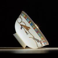 美式餐具碗碟套装家用景德镇骏马陶瓷器创意骨瓷碗盘子组合 图片色