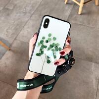 小清新绿叶 苹果X玻璃壳iphone7plus/6S手机壳全包挂绳女款8p创意个性新款iPhoneX iX 玻璃小树苗