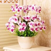 仿真花客厅家居餐桌装饰塑料假花干花兰花盆栽清新花艺摆设 白色 14支白+陶瓷盆