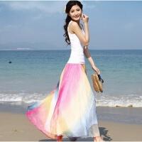 春秋大摆半身长裙拖地高腰显瘦波西米亚雪纺裙沙滩度假纱裙舞裙子