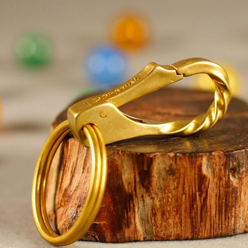 钥匙扣纯铜扭纹挂扣挂钩礼品钥匙扣小号男士腰挂黄铜汽车挂扣 扭纹挂扣+大圈