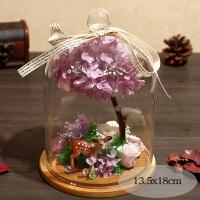 永生花礼盒玻璃罩装玫瑰摆件保鲜干花真花爱人音乐情人节生日礼物