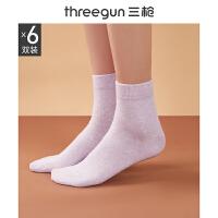 [6双装]三枪袜子女弹力棉春夏季薄夏天可爱纯色吸汗透气百搭中筒