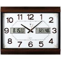 万年历电子钟挂钟客厅 北极星万年历大号挂钟中式客厅电子日历石英钟静音挂表时尚钟表 白色 26英寸