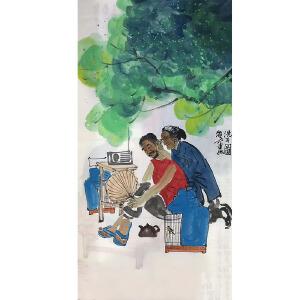 中国美术家协会会员,人民美术出版社画家马海方(洗耳图)27