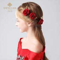 儿童头饰红色玫瑰花仿真饰品女孩发饰公主头花花童礼服演出配饰