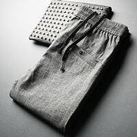 夏季轻薄竖条纹运动裤男裤 男士时尚潮流抽绳九分灰色休闲裤长裤 灰色
